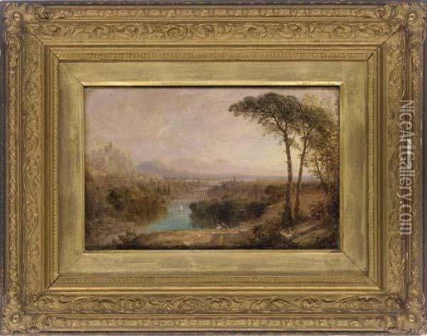Figures In A Classical Landscape Oil Painting - Anthony Vandyke Copley Fielding
