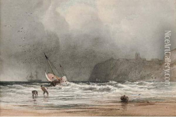Hauling In The Fishing Boat Onto The Shore Oil Painting - Anthony Vandyke Copley Fielding