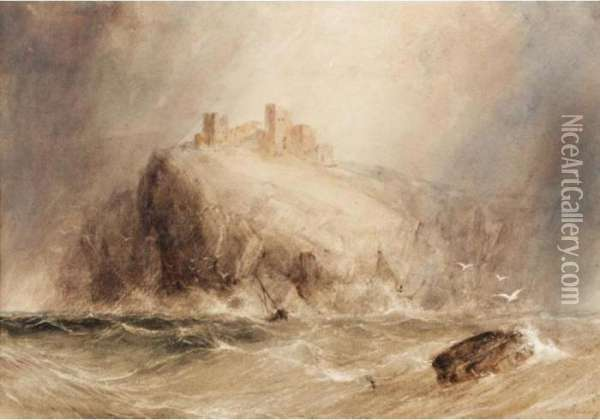 A Stormy Seascape With A Castle Beyond Oil Painting - Anthony Vandyke Copley Fielding