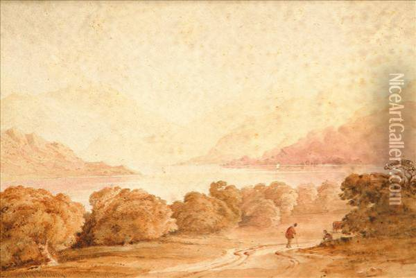 Landscape With Traveller Monochromatic Oil Painting - Anthony Vandyke Copley Fielding