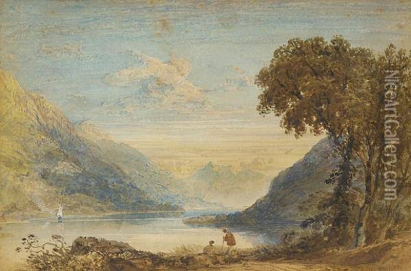 Resting By A Lake On A Summers Day Oil Painting - Anthony Vandyke Copley Fielding