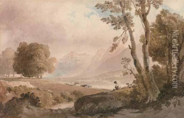 Cattle Watering In The Lake District Oil Painting - Anthony Vandyke Copley Fielding