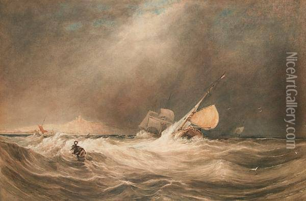 A Storm Off Whitby Oil Painting - Anthony Vandyke Copley Fielding