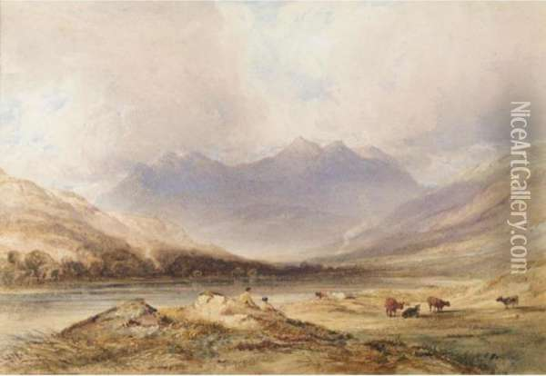 Snowdon With Figures And Cattle In The Foreground Oil Painting - Anthony Vandyke Copley Fielding