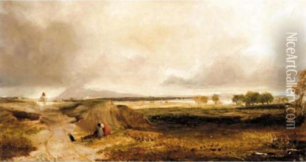 Landscape With Figures Oil Painting - Anthony Vandyke Copley Fielding