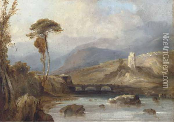 Figures On A Bridge, With Ruins Beyond Oil Painting - Anthony Vandyke Copley Fielding