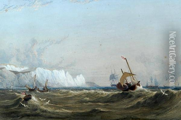 Vessels Off A Coastline With White Cliffs Oil Painting - Anthony Vandyke Copley Fielding
