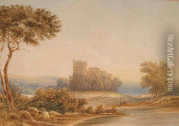 A Castle By A River, Probably Chepstow Oil Painting - Anthony Vandyke Copley Fielding