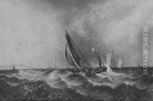 Vessels At Sea Off Deal Oil Painting - Anthony Vandyke Copley Fielding