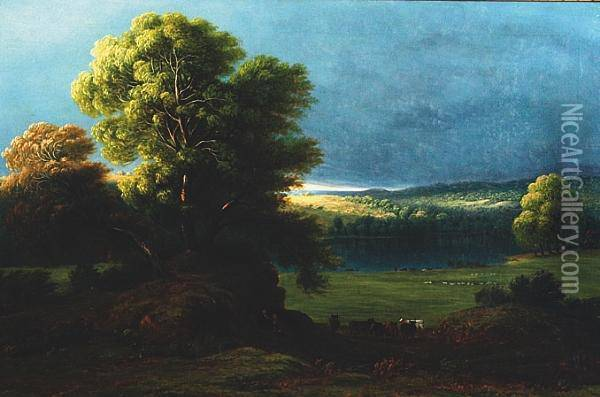 Storm Clouds Over A Lake With A Shaft Of Sunlight Catching The Hills Beyond Oil Painting - Anthony Vandyke Copley Fielding