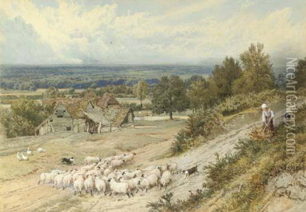 A Farmhouse Near Haslemere With Children Blackberrying Oil Painting - Myles Birket Foster