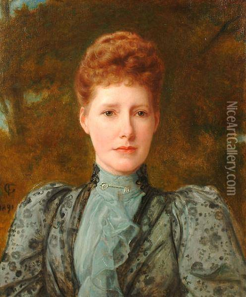 Portrait Of A Lady, Bust Length, Wearing A Grey Dress. Oil Painting - Frederick Goodall