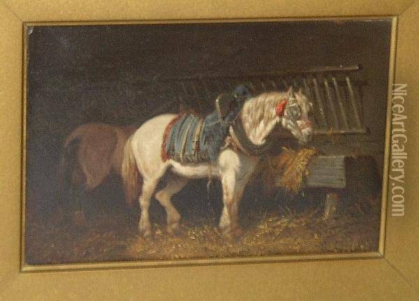 Dray Horses In A Stable Oil Painting - John Frederick Herring Snr