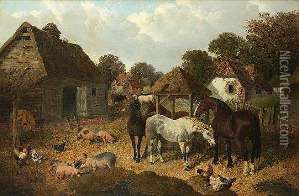 A Farmyard Scene With Horses, Pigs, Cattle And Poultry Oil Painting - John Frederick Herring Snr