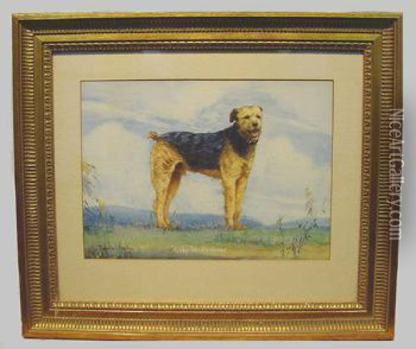'nicky', The Aristocrat, An Airedale Terrier Oil Painting - John Frederick Herring Snr