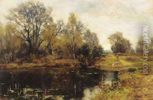 A Woodland Pool Oil Painting - Henry John Yeend King