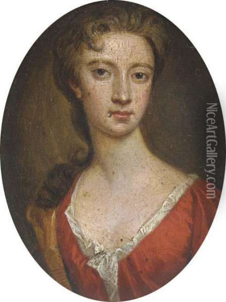 A Young Lady, In Scarlet Dress With White Underslip, Fairhair Oil Painting - Sir Godfrey Kneller