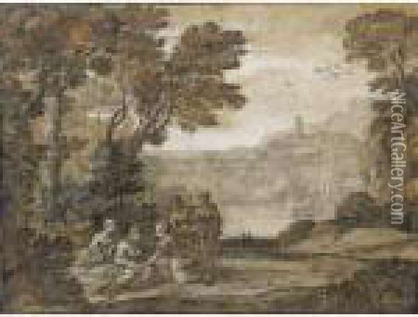 Landscape With The Nymph Egeria Mourning Over Numa Oil Painting - Claude Lorrain (Gellee)