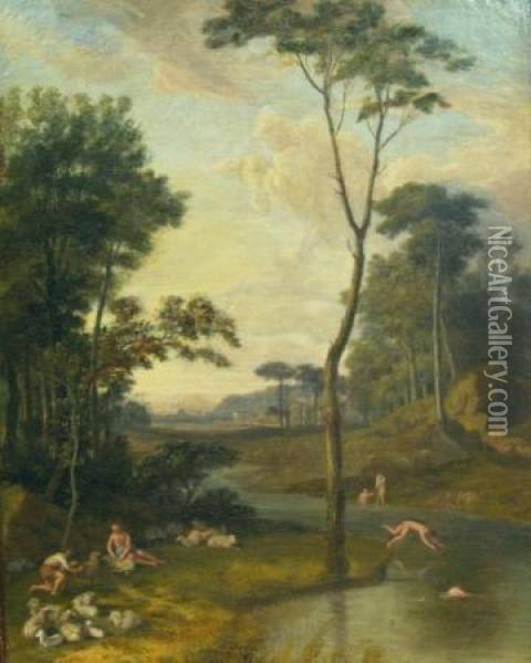 Shepherds And Bathers In An Arcadian Landscape Oil Painting - Claude Lorrain (Gellee)