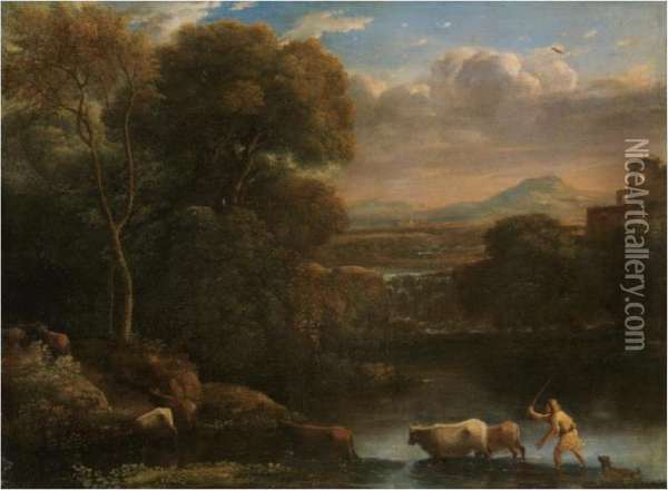 An Italianate Landscape With A  Drover And His Dog Driving His Cattle Across A Ford, A Waterfall Beyond Oil Painting - Claude Lorrain (Gellee)