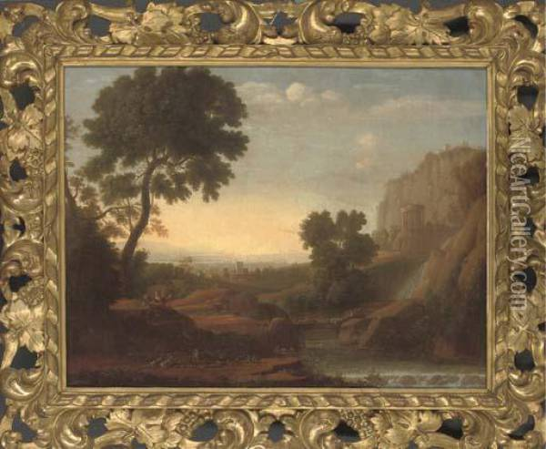 An Italianate River Landscape With Figures Resting Oil Painting - Claude Lorrain (Gellee)