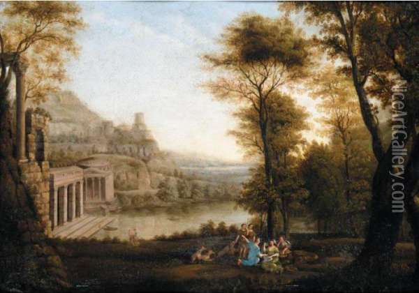 Landscape With Egeria Mourning Over Numa Oil Painting - Claude Lorrain (Gellee)
