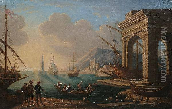 A Seaport With Figures Conversing In The Foreground Oil Painting - Claude Lorrain (Gellee)
