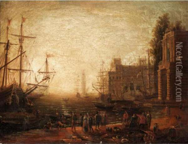 A Mediterranean Seaport With Villa Medici And Figures On The Quay Oil Painting - Claude Lorrain (Gellee)