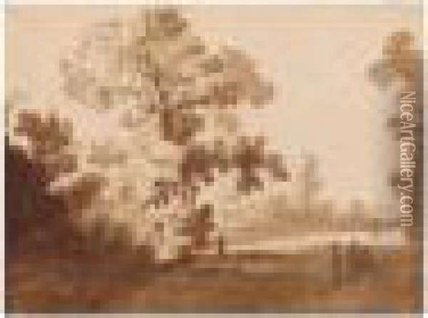 Path Through A Wooded Landscape With Figures And Animals Oil Painting - Claude Lorrain (Gellee)