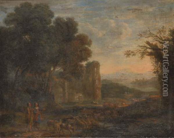 A Landscape With A Shepherd And Shepherdess With Their Flock Oil Painting - Claude Lorrain (Gellee)