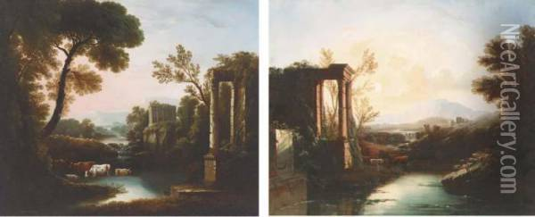 An Italianate Landscape With  Classical Ruins; And An Italianatelandscape With A Shepherd And Cattle  By Classical Ruins Oil Painting - Claude Lorrain (Gellee)