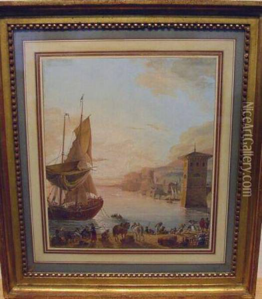 Busy Harbor At Sunset Oil Painting - Claude Lorrain (Gellee)