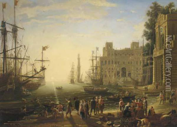 A Capriccio Of A Mediterrenean Port With The Villa Medici Oil Painting - Claude Lorrain (Gellee)