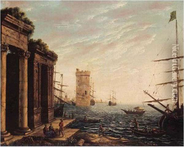 A Classical Harbour At Dusk Oil Painting - Claude Lorrain (Gellee)