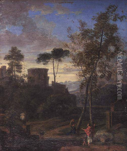 A Classical Landscape With Figures Oil Painting - Claude Lorrain (Gellee)