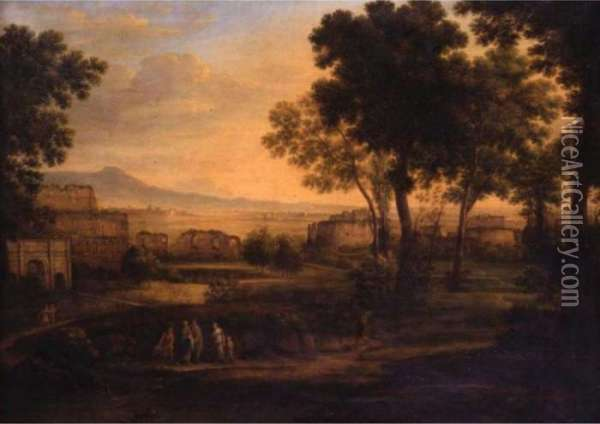 Figures In A Landscape With Ruined Buildings Beyond Oil Painting - Claude Lorrain (Gellee)
