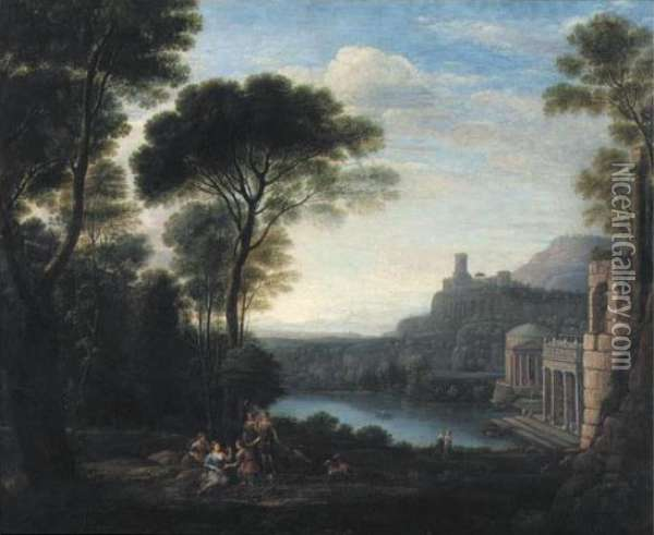 A Classical Landscape With The Nymph Egeria Mourning Over Numa Oil Painting - Claude Lorrain (Gellee)