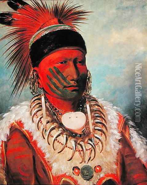 'White Cloud', Head Chief of the Iowas, 1844-45 Oil Painting - George Catlin