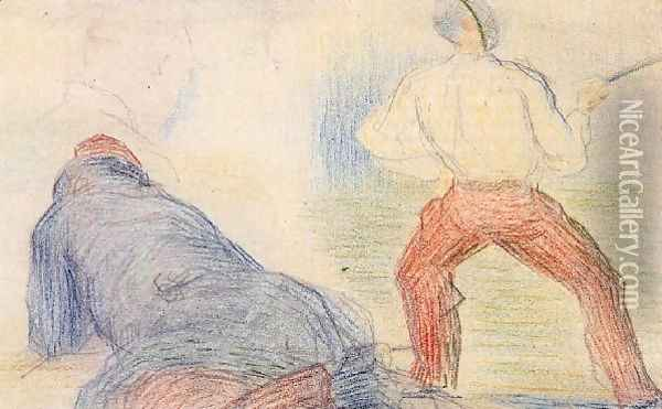 Soldier Fencing Another Reclining Oil Painting - Georges Seurat