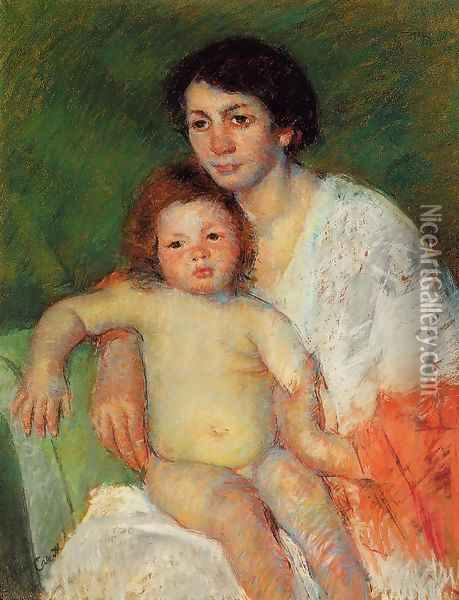 Nude Baby on Mother's Lap Resting Her Arm on the Back of the Chair Oil Painting - Mary Cassatt