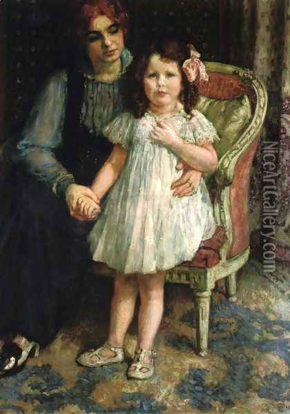 Portrait of Madame Goldner=Max and Her Daughter Juliette Oil Painting - Theo van Rysselberghe