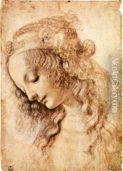 Woman's Head Oil Painting - Leonardo Da Vinci