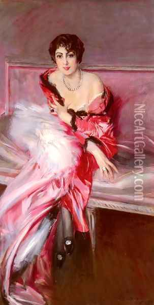 Portrait Of Madame Juillard In Red Oil Painting - Giovanni Boldini