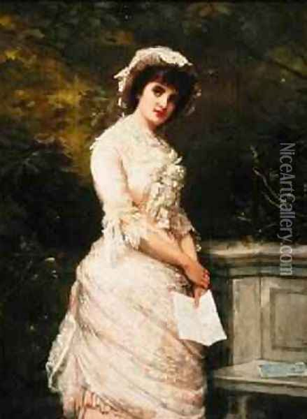 The Billet Doux 1882 Oil Painting - William Oliver