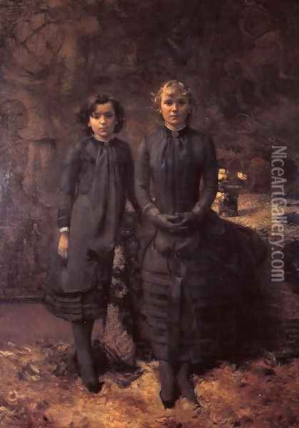 The Schlobach Sisters Oil Painting - Theo van Rysselberghe