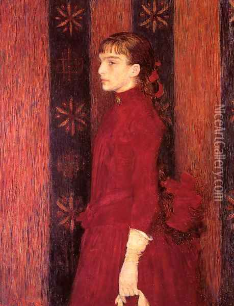 Portrait of a Young Girl in Red Oil Painting - Theo van Rysselberghe