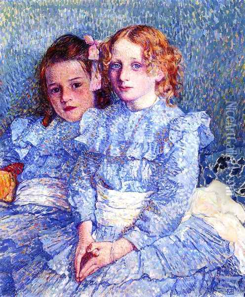 Portrait of Helene and Michette Guinotte Oil Painting - Theo van Rysselberghe