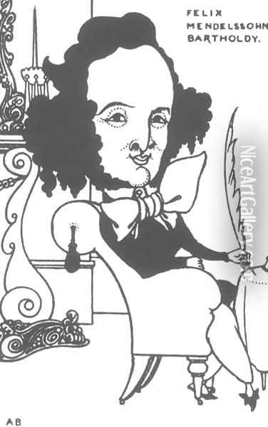 Caricature of Felix Mendelssohn Oil Painting - Aubrey Vincent Beardsley