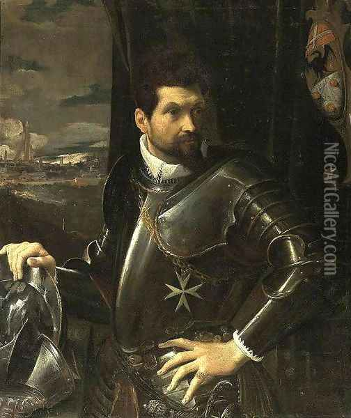 Portrait of Carlo Alberto Rati Opizzoni in Armour 1597-1600 Oil Painting - Lodovico Carracci