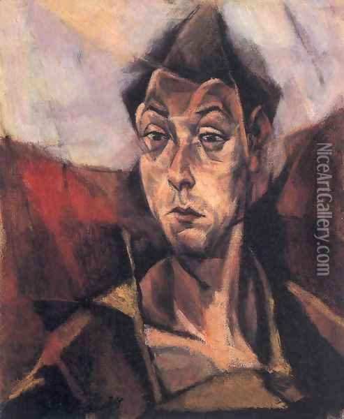 Self-portrait 1912 Oil Painting - Lajos Tihanyi